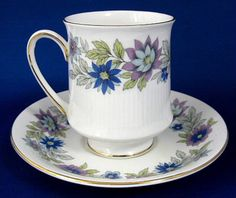 Paragon Cherwell Cup and Saucer England Vintage 1950s Bone China Blue Lavender Floral