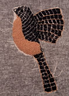 Hand Embroidered Bird  Jen Moules Textile Design. Straight stitches and French Knots.
