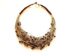Summer jewelrylinen Necklacenatural Linen