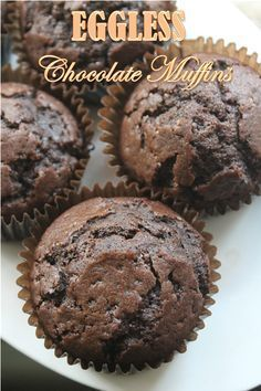 I love baking muffins, not only they are delicious. But they are a breeze to make. You just measure few ingredients and dump them into. Eggless Chocolate Muffins Recipe, Eggless Muffins, Eggless Desserts, Eggless Recipes, Eggless Baking, Chocolate Chip Muffins, Delicious Desserts, Baking Muffins, Chocolate Cupcake Recipe Without Eggs