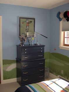 On the Green! Golf Theme, Boys room done around the love of golf.He wanted lots of storage and of course a desk. Small space that had to have multible functions. He also wanted to display his hat collection., Boys Rooms Design