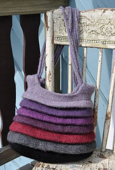 Alluvia Felted Tote - Knitting Patterns by Allison Haas Knitting Projects, Knitting Patterns, Crochet Patterns, Bag Patterns, Felt Purse, Knitted Bags, Felted Bags, Knit Picks, Wet Felting