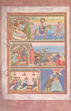 Codex Aureus Epternacensis (Goldenes Evangeliar), Prunkhandschrift Date circa Illuminated Letters, Illuminated Manuscript, Medieval Art, Medieval Dress, Medieval Clothing, Book In Latin, Book Of Kells, Book Of Hours, Chalk Pastels