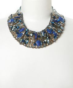 Look at this #zulilyfind! Navy Crystal Bib Necklace by PANNEE JEWELRY #zulilyfinds