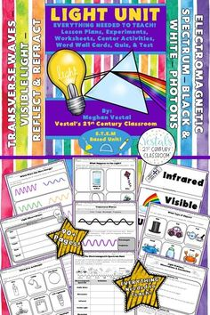 Light Lesson Plans include lesson plans, hands-on activities and experiments, worksheets, and video links. #vestals21stcenturyclassroom #lightideas #teachinglight #lightlessonplans #lightactivities #4thgradescience #5thgradescience