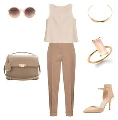 """Beige Business Chic"" by bshujewelry ❤ liked on Polyvore featuring Bottega Veneta, Enzo Angiolini, Balenciaga, ADAM, Linda Farrow and Jennifer Fisher"