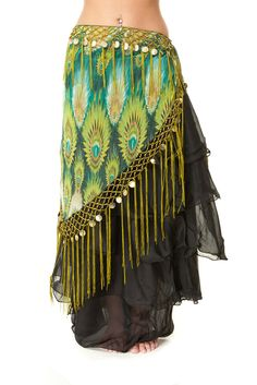 Amazon.com: Tribal Fringe Fusion Belly Dance Hip Scarf - V Shaped