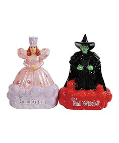 Celebrating both the good and the bad, this Wizard of Oz salt and pepper shaker set features 'Glenda the Good Witch' and the 'Wicked Witch of the East'. Each character represents a shaker- you decide which one is salt and which one is pepper! A fun way to Mobiles, Glenda The Good Witch, Salt N Peppa, Westland Giftware, The Worst Witch, Salt And Pepper Set, Wicked Witch, Novelty Items, Salt Pepper Shakers