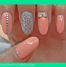 peach and sparkle silver nails so pretty i wish i could do nails like this