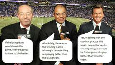 Funny pictures about Every Sports Game Commentary Ever. Oh, and cool pics about Every Sports Game Commentary Ever. Also, Every Sports Game Commentary Ever photos. Funny Captions, Funny Jokes, It's Funny, Funny Photos, Best Funny Pictures, Hump Day Humor, Clean Memes, Sports Memes, Funny Sports