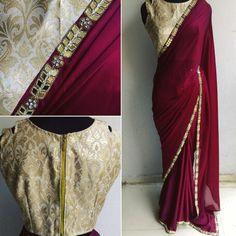 Bridesmaid sarees - solid gold blouse with simple burgundy design Saree Designs Party Wear, Saree Blouse Designs, Saree Dress, Sari, Anarkali, Lehenga, Churidar, Bridesmaid Saree, Bridesmaids