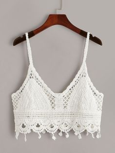 To find out about the Scalloped Hem Crochet Cami Top at SHEIN, part of our latest Tank Tops & Camis ready to shop online today! Crochet Cami Tops, Crochet Bikini, Knit Crochet, Crochet Clothes, Diy Clothes, Clothes For Women, Scalloped Hem, Crop Tops, Tank Tops