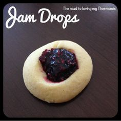 Jam drops - going to try with coconut sugar and my chia jam. Biscuit Cake, Biscuit Recipe, Coconut Jam Drops, Bellini Recipe, Cooking Challenge, Lunch Snacks, School Snacks, Cookie Press, No Bake Treats