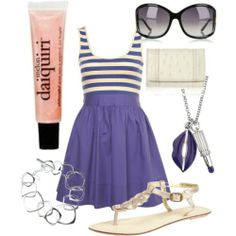 Cute everyday summer outfit. The perfect short blue skater dress with striped blue-white top from Topshop paired with cute beige flat sandals from Dorothy Perkins and a adorable necklace from Lulu Guinnes.