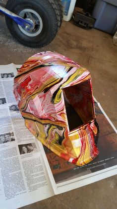 Awesome marbled welding helmet