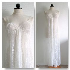 White Lace Vintage Open Front Lace Full Length Long Nightgown VintageHag.com