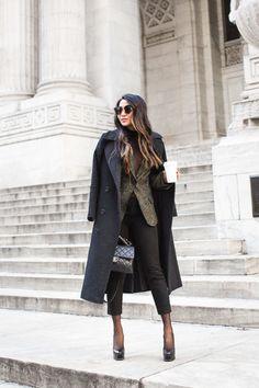C O A T ::  Express  T O P ::  Ann Demeulemeester blazer | Vivian Chan sheer top B O T T O M ::  Gap  S H O E S ::  Saint Laurent B A G ::  Chanel 'Trapezio' bag A C C E S S O R I E S ::  Nordstrom sheer socks | Gentle Monster sunglasses | Burberry 'Fawn' lip color