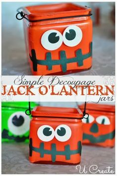 Simple Decoupage Jack O'Lantern Jars #Halloween #crafts
