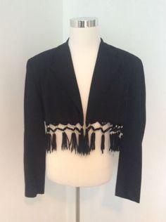 Rare-Collectible-Vintage-Jean-Paul-Gaultier-1980S-Fringe-Black-Blazer-Jacket