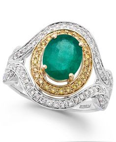 Brasilica by EFFY Emerald (1-1/2 ct. t.w.) and Diamond (1/2 ct. t.w.) Oval Ring in 14k White and Yellow Gold