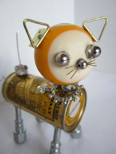 Reserved for EB Yellow Cat Bot - found object robot sculpture assemblage