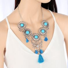 Silver Color Necklace With Blue Stones & Tassels In Boho Style