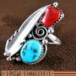 Native American Coral and Turquoise Silver Ring
