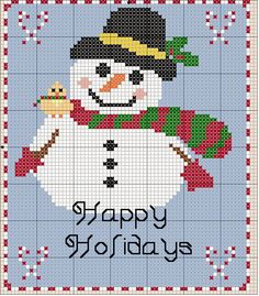 SNOWMAN WITH BIRD  Size(s):   12 Count, 5-1/2w X 6-1/2h in   14 Count, 4-3/4w X 5-5/8h in  Floss Used for Full Stitches:   Strands      Type     Number     Color      3             DMC         1            XWhite      3             DMC    304           X Christmas Red-MD      3             DMC    307           X Lemon      3             DMC    310          X Black      3             DMC    433          X Brown-MD      3             DMC   445