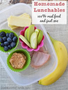 Ditch the processed boxes and make healthy homemade lunchables instead. They cost less than $1 and contain nothing but 100% real food! :: Don'tWastetheCrumbs.com