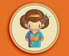 BLUE GEISHA - A counted cross stitch pattern based on original pixel art by iamnotadoll. $5.00, via Etsy.