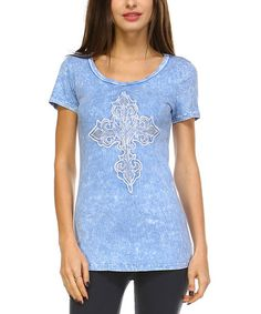 Loving this Blue Cross-Embellished Tee on #zulily! #zulilyfinds