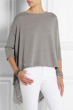 Raquel Allegra|Shredded cotton-blend jersey top|NET-A-PORTER.COM