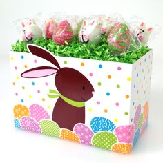 Easter egg and bunny cake pops from Candy's Cake Pops in this adorable Bunny basket boxes from Nashville Wraps.