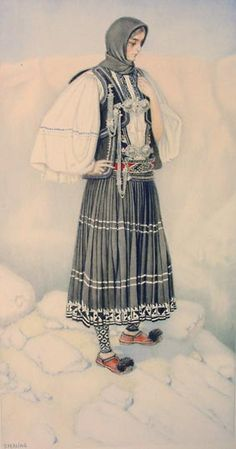 NICOLAS SPERLING Sarakatsan Woman's Costume (Epirus) 1930 lithograph on paper after original watercolour Greek Traditional Dress, Traditional Outfits, Ancient Greek Costumes, Greek Dress, Costume Collection, Period Outfit, Greek Clothing, Folk Costume, Historical Clothing