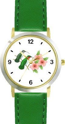 Red & Gray Throated Hummingbirds on Branch & 3 Pink Hibiscus Flowers - JP - WATCHBUDDY® DELUXE TWO-TONE THEME WATCH - Arabic Numbers - Green Leather Strap-Size-Children's Size-Small ( Boy's Size & Girl's Size ) WatchBuddy. $49.95