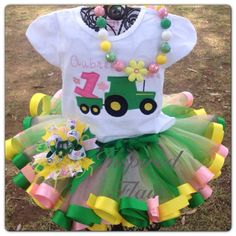 Personalized Girl's Tractor Pink and Green Tutu Set- Includes Tutu Skirt, Embroidered Shirt or One Piece and Hair Bow, Necklace