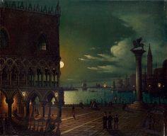 Ippolito Caffi (1809-1866, attribuito) - Piazza San Marco a Venezia al chiaro di luna  (Piazza San Marco, Venice, in the Moonlight)