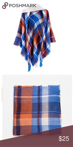 "Tartan Scarf In Blue/Orange 100% Acrylic. Approx 55x 55"". Price firm unless bundled . Accessories Scarves & Wraps"