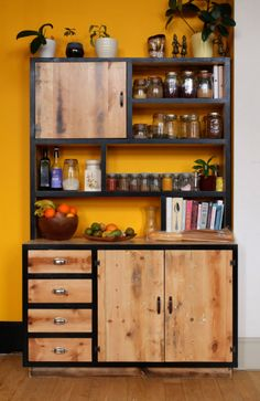 bespoke kitchen, tailor made kitchen, reclaimed timber kitchen, colourful… Welded Furniture, Timber Furniture, Steel Furniture, Home Decor Furniture, Cheap Furniture, Industrial Furniture, Kitchen Furniture, Rustic Furniture, Diy Home Decor