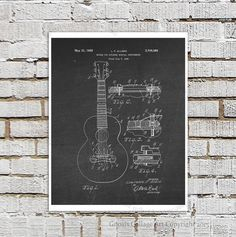 Vintage 1955 Gibson Guitar Bridge Invention by GnosisCollageArt