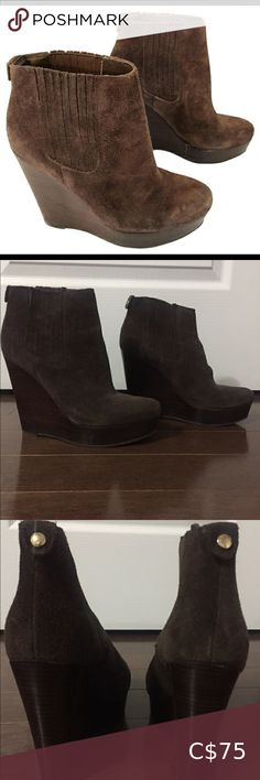 In excellent condition. Worn twice. Pairs nicely with a pair of jeans. Wedge Ankle Boots, Bootie Boots, Michael Kors Shoes, Brown Suede, Wedges, Booty, Pairs, Jeans, Closet