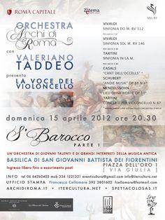 S'Barocco 2012 'La Voce del Violoncello' Music Project, featuring Valeriano Taddeo as soloist.