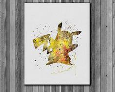 Pikachu pokemon poster- Art Print, instant download, Watercolor Print, Anime watercolor