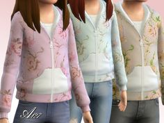 The Sims Resource: Flowers sweatshirt girl by Altea127 • Sims 4 Downloads