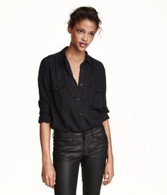 CONSCIOUS. Long-sleeved shirt in washed denim made from Tencel® lyocell…