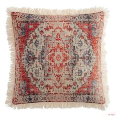 Red and Blue Vintage Rug Print Throw Pillow by World Market – floral accent pillow Red Throw Pillows, Accent Pillows, Decorative Throw Pillows, Decor Pillows, Traditional Rugs, World Market, Vintage Rugs, Vintage Style, Rug Runner