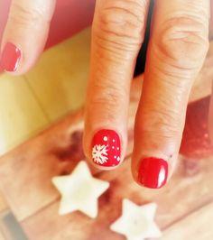 Uñas decoradas navidad, rojas, cortas