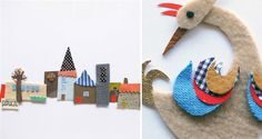 beautiful wall decorations! fabric collages by pouch handmade! via bloesem kids