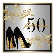 Elegant gold fabulous 50th birthday party invitation womans dancing shoes fabulous 50th birthday invitation filmwisefo Gallery