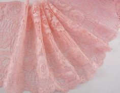 5 Yards 8 inch wide Delicate Pink Elastic/Spandex Soft Flower Floral lace trim DIY/Doll dress/Wedding Sewing *** Click image to review more details.